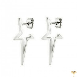 Novelty Open Hollow Star Highly Polished Mirror Finish Gold Color Stainless Steel Punk Style Studded Earrings