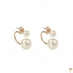 Trendy White Gold Plated Front Back Floating Double Pearl Stud Earrings - Good Quality