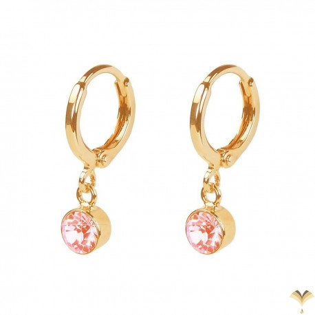 CLASSIC Vintage Style - 18K Rose Gold Plated Dangle Light Pink l Rhinestone Small Drop Earrings