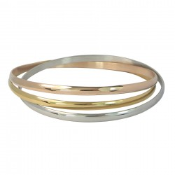 Luxury 3 Colours 18K Gold Plated Connected Stainless Steel Bangles Bracelet
