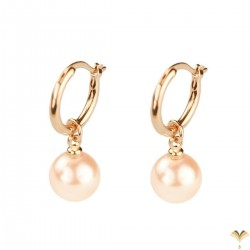 CLASSIC Vintage Style - Dangle White Pearl Rose Gold Plated Drop Earrings