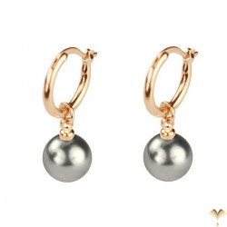 CLASSIC Vintage Style - Dangle Dark Grey Pearl Rose Gold Plated Drop Earrings