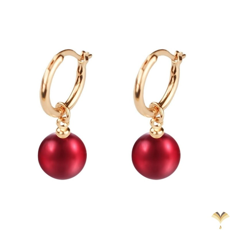 Dangle Red Pearl Rose Gold Plated