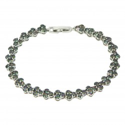 Dark Opal Colour Round Rhinestones White Gold Plated Bracelet