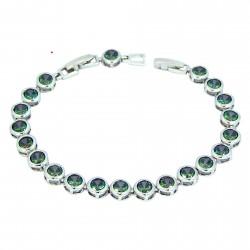 Dark Opal Colour Round Rhinestones White Gold Plated 1 Row Bracelet