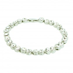 1 Row  Clear Round Rhinestones White Gold Plated Bracelet