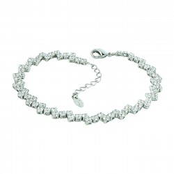 Zig Zag Rhinestones White Gold Plated Bracelet