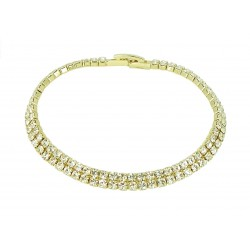 2 Row Tennis Clear Rhinestones Yellow Gold Plated Bracelet